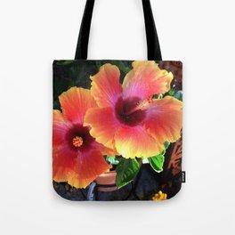 California Yellow Red Pink Hibiscus  Tote Bag