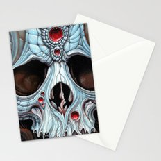 blue skull red jewels Stationery Cards