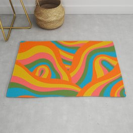 Retro 70s Psychedelic Abstract Pattern Rug