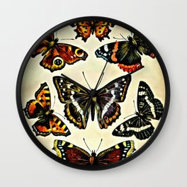 Vintage Butterflies Collage Wall Clock