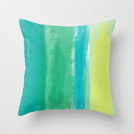 Bluish Blues 4 - Teal, Light Blues, Yellow Throw Pillow