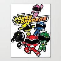 power rangers Canvas Prints featuring Power Rangers  by Dik Low