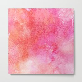 Abstract modern pink orange watercolor pattern Metal Print