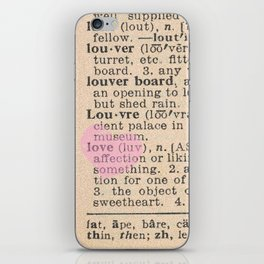 Love Dictionary Page With Sketchy Pink Heart iPhone Skin