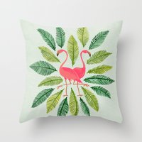 general Throw Pillows featuring Flamingos by Cat Coquillette