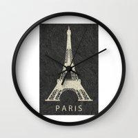 paris Wall Clocks featuring Paris by NJ-Illustrations