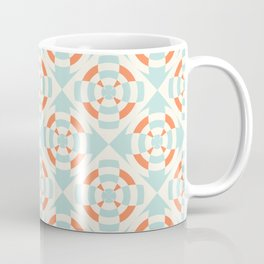 Simple geometric stripe flower orange and light blue Coffee Mug