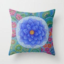 Violet Flower Mandala Throw Pillow