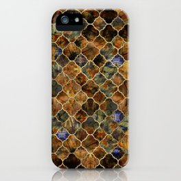 Quatrefoil Moroccan Pattern Brown Labradorite iPhone Case