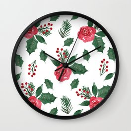 Winter Roses, Holly and Berries Wall Clock