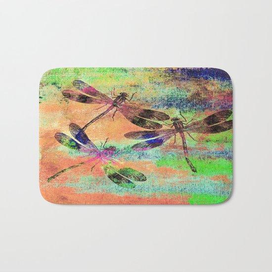 Mauritius Vintage Dragonflies Colours C Bath Mat