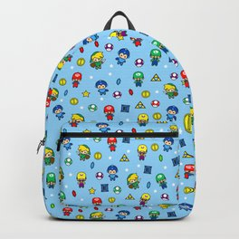 Cool Video Game 8-Bit Heroes Vintage Gamer Gaming Collection Backpack