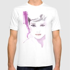 Fashion illustration in watercolors and ink MEDIUM Mens Fitted Tee White