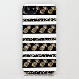Chic black and gold confetti pineapple stripes iPhone Case