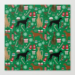 Christmas Greyhound pattern gifts for greyhound rescue dogs must have festive holiday dogs Canvas Print