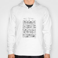 baloon Hoodies featuring Cityscape from baloon flight by posterilla