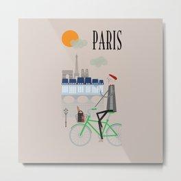Paris - In the City - Retro Travel Poster Design Metal Print