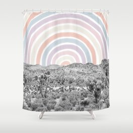 Happy Rainbow Rays // Scenic Desert Cactus Hill Landscape Watercolor Collage Dorm Room Decor Shower Curtain