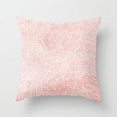 Rose quartz and white swirls doodles Throw Pillow