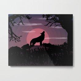 Wolf full moon Metal Print