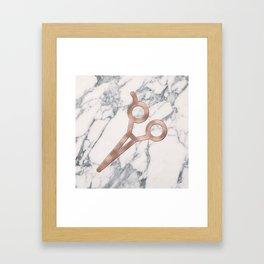 Rose Gold Scissors on Marble Background - Salon Decor Framed Art Print