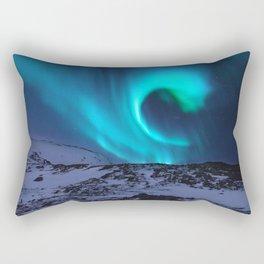 Aurora BorealiS Mountains Rectangular Pillow