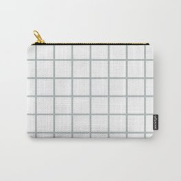 GRID DESIGN (SILVER-WHITE) Carry-All Pouch