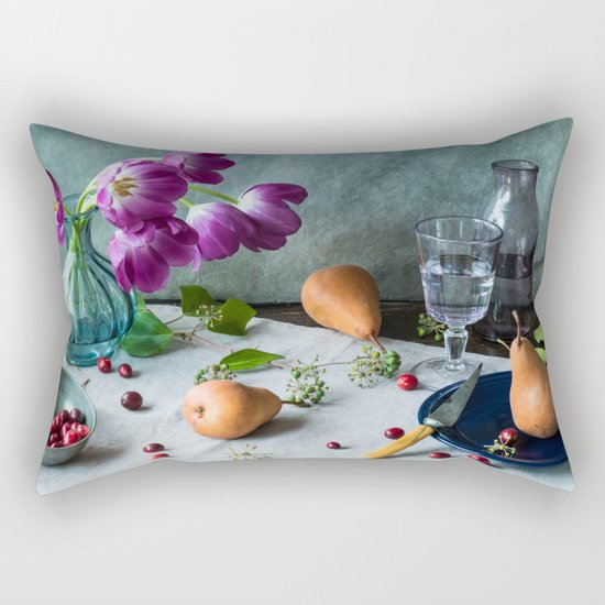 Still Life with Purple Tulips Rectangular Pillow