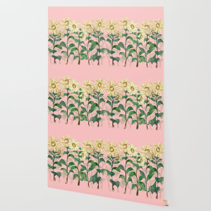 Sunflowers in Pink Wallpaper