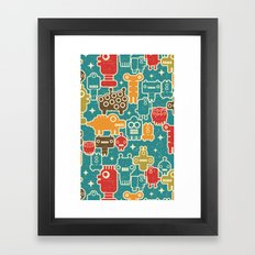 Robots on blue. Framed Art Print