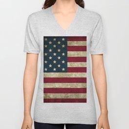 Vintage American flag Unisex V-Neck
