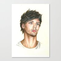 louis tomlinson Canvas Prints featuring Louis Tomlinson by Brenna Williams