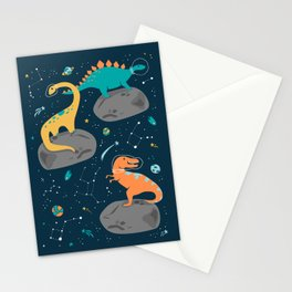 Dinosaurs Floating on an Asteroid Stationery Cards