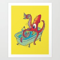 kraken Art Prints featuring kraken by Caramela