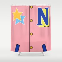 iwatobi Shower Curtains featuring Nagisa Jacket by Bunny Frost