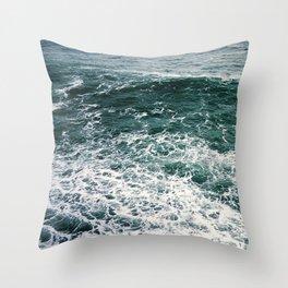 Waves.Ocean.Water Texture.35mm film.Oregon.Sea.Coast.Teal. Throw Pillow