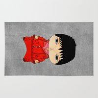 cyberpunk Area & Throw Rugs featuring A Boy - Kaneda (Akira) by Christophe Chiozzi