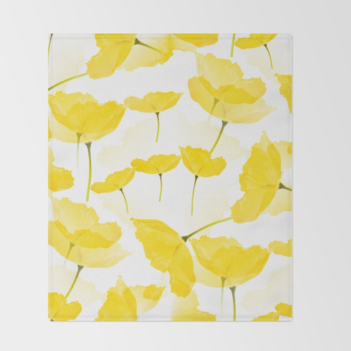 Light Yellow Poppies Spring Summer Mood Decor Society6 Art Throw Blanket