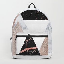 Marble rose gold geometric triangles Backpack