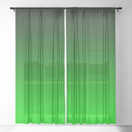 Black Lime Green Neon Nights Ombre Sheer Curtain