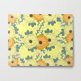Yellow and orange floral Pattern, happy floral pattern, fun floral pattern, feminine floral pattern  Metal Print