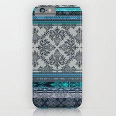 Teal, Aqua & Grey Vintage Bohemian Wallpaper Stripes iPhone 6 Slim Case