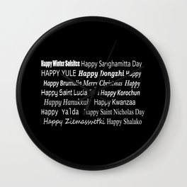 Happy Holidays! Midnight Wall Clock