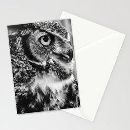 Bird Photography | Owl Black and White Minimalism | Wildlife | By Magda Opoka Stationery Cards