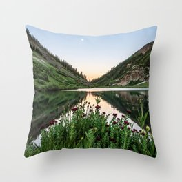 Natures Bouquet // Green and Red Floral Foreground Mountain and Moon Reflection Throw Pillow