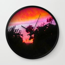 Sunset and Geraniums Wall Clock