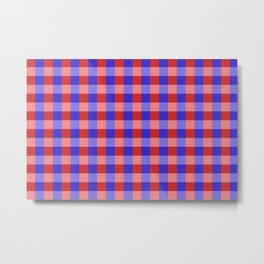 Red Blue and Pink Pretty Check Pattern Metal Print