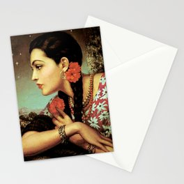 Mexican Calendar Girl in Profile by Jesus Helguera Stationery Cards