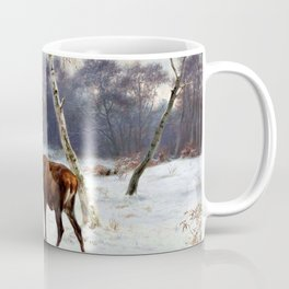 Deer And Doe In A Snowy Landscape - Digital Remastered Edition Coffee Mug