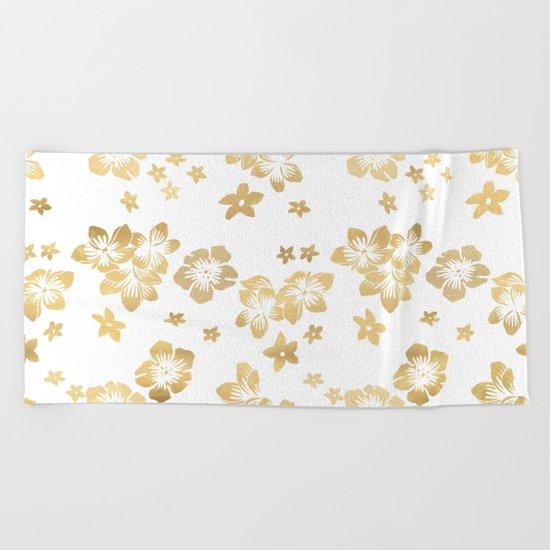 Gold Tropical Flowers Beach Towel